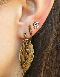 Fashion Gold Color Leaf Shape Design Pure Color Earrings(3pcs)