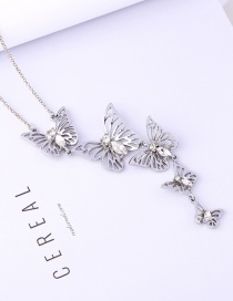 Fashion Silver Color Butterfly Pendant Decorated Long Necklace