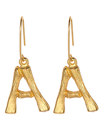 Fashion Gold Color Letter A Decorated Pure Color Earrings