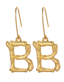 Fashion Gold Color Letter B Decorated Pure Color Earrings