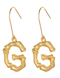 Fashion Gold Color Letter G Decorated Pure Color Earrings