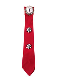 Fashion Red Flower Decorated Pure Color False Collar