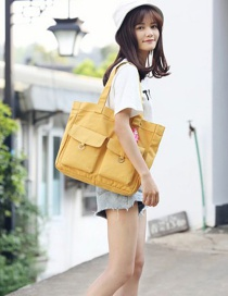 Fashion Yellow Pure Color Decorated High-capacity Bag