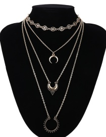 Fashion Gold Color Moon Shape Decorated Multi-layer Necklaces