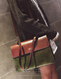 Fashion Green Square Shape Decorated Bag