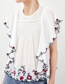 Elegant White Embroidered Flowers Decorated Simple Blouse