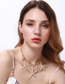 Fashion Gold Color Star Shape Decorated Pure Color Necklace
