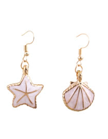 Fashion Light Pink Pentagon&shell Decorated Earrings