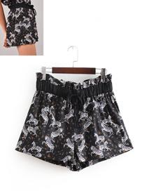 Fashion Black Zebra Pattern Decorated Simple Shorts
