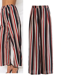 Fashion Red Stripe Pattern Decorated Wide-legs Pants