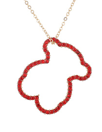 Elegant Red Bear Shape Pendant Decorated Necklace