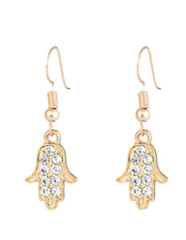 Elegant Gold Color Palm Pendant Decorated Simple Earrings