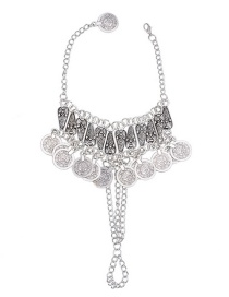 Trendy Silver Color Coins Pendanr Decorated Pure Color Anklet