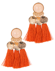 Fashion Orange Round Shape Decorated Tassel Earrings