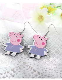 Cuty Purple Small Pig Shape Design Earrings