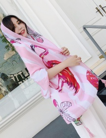 Fashion Pink Flamingos Pattern Decorated Shawl