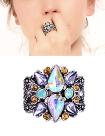 Fashion Blue Waterdrop Shape Decorated Opening Ring