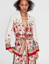 Fashion Red Flower Pattern Decorated Coat
