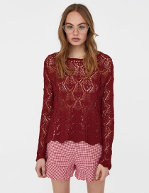 Fashion Claret Red Hollow Out Design Pure Color Sweater