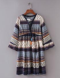Fashion Multicolor V Neckline Design Flower Pattern Dress