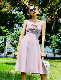 Fashion Pink Pure Color Decorated Suspender Dress