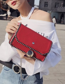 Fashion Red Rivet Decorated Bag