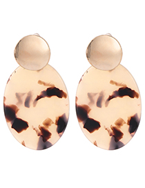 Fashion Beige Oval Shape Decorated Earrings