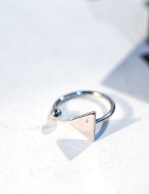 Fashion Silver Color Triangle Shape Decorated Opening Ring