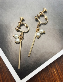Fashion Gold Color Pearl Decorated Tassel Earrings