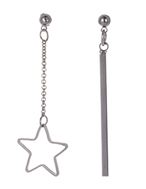 Fashion Gun Black Star Shape Decorated Earrings
