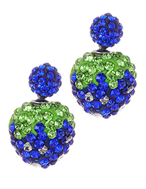 Fashion Sapphire Blue Ball Shape Decorated Earrings