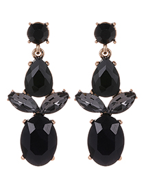 Fashion Black Waterdrop Shape Decorated Earrings