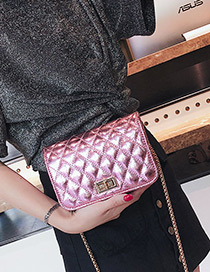 Fashion Pink Pure Color Decorated Shoulder Bag