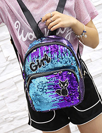 Fashion Blue Letter Pattern Decorated Backpack