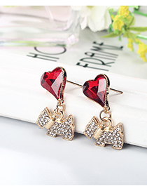 Fashion Gold Color Heart&dog Shape Decorated Earrings