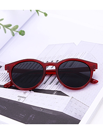 Vintage Claret Red Round Shape Decorated Sunglasses