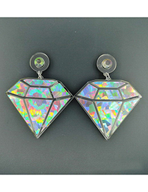 Fashion Silver Color Diamond Shape Decorated Earrings