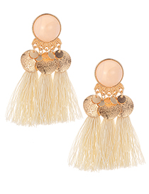 Fashion Beige Tassel Decorated Earrings