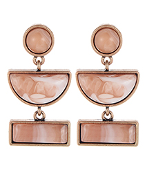 Fashion Light Coffee Semicircle Shape Decorated Earrings