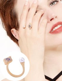 Fashion Gold Color Eye Shape Decorated Ring