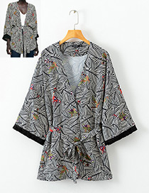 Fashion Multi-color Flower Pattern Decorated Coat