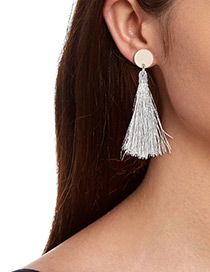 Fashion Silver Color Tassel Decorated Earrings