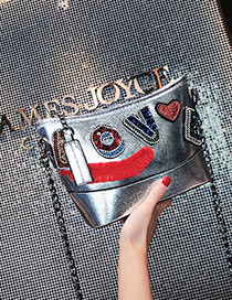 fashion Silver Color Letter Shape Decorated Shoulder Bag