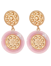 Fashion Pink Round Shape Decorated Earrings