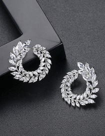Fashion Silver Color Leaf Shape Decorated Earrings