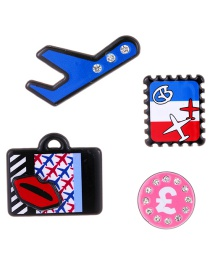Fashion Multi-color Lip&airplanes Decorated Brooch(4pcs)