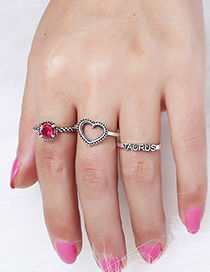 Vintage Silver Color+red Heart Shape Decorated Ring (3 Pcs )