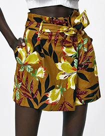 Fashion Brown Flower Pattern Decorated Shorts