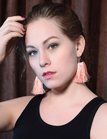Elegant Pink Tassel Decorated Pure Color Earrings