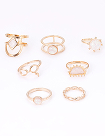 Fashion Gold Color Round Shape Diamond Decorated Ring (7pcs)